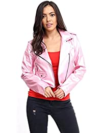 FLIRTY WARDROBE Womens Vintage Crop Faux Leather Jacket Ladies Biker Style Zipup Top PVC Shiny LelePons Camila Harmony Jackets