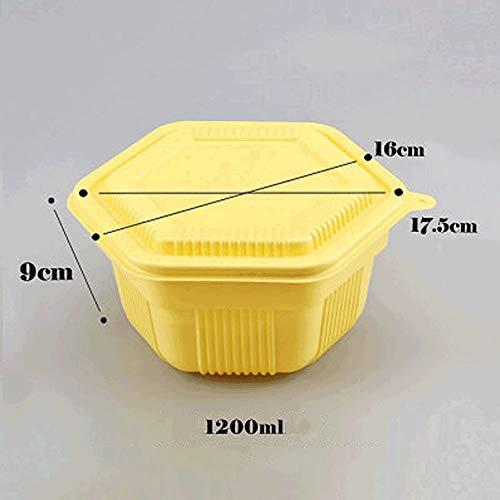 YC-Einweg-Brotdose Einweg-Doppelschicht-Take-Out-Tablett aus schwarzem, gelbem Kunststoff - Snack-Platte Reismehl Ausgewogener Kühlschrank Aufbewahrungsbox Verpackung [200 Stück] (Color : Gelb)