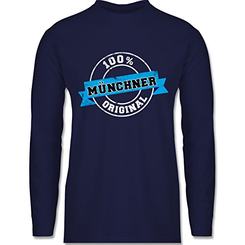 Städte - Münchner Original - Longsleeve / langärmeliges T-Shirt für Herren Navy Blau