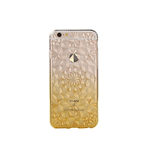 Case for iPhone 6P Translucent Cover Gradient Flexible Soft TPU Anti-Scratch 3D Diamond Durable Protective Shell Bumper Case for Apple iPhone 6 Plus - Yellow Yellow