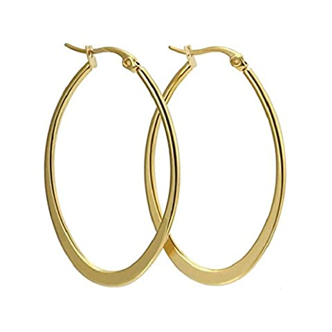 CHENGYUXUAN Fashion Jewelry Female Models 18K Gold Earrings Titanium Steel Stainless Steel Large Circles Earrings Earrings Ear Jewelry Gold,Gold-OneSize