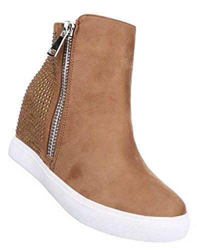 Ankle Boots Sapatos Femininos Salientar Cravejado Botas De Cunha Camelo