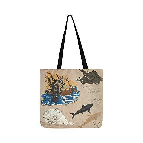 Pirate Fantasy Island Karte Leinwand Tote Handtasche Schultertasche Crossbody Taschen Geldbörsen Für Männer Und Frauen Einkaufstasche (Sea Kunst Monster)