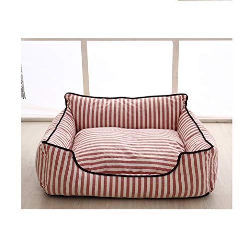 AMURAO Winterbetten für mittelgroße Hunde Herausnehmbares Hundekissen Plus gestreifte Haustiermatte aus weicher Baumwolle, gepolstert -