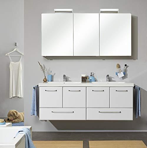 Pelipal - FILO 22 - Badmöbel-Set - 146 cm - Doppel-Waschplatz, 3-teilig mit Spiegelschrank, Mineralmarmor-Doppelwaschtisch usw. in weiß Hochglanz, EEK: A+ (Spektrum A++ - A)