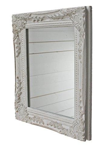 32x27x3cm rectángulo espejo de pared, vendimia-antiguo-marco de madera hecho a mano, blanco,...
