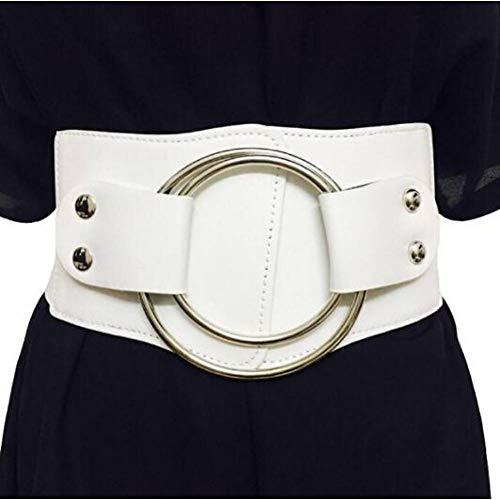 CCGAYD Vintage Breite Taille Elastische Gürtel Für Frauen Stretchy Korsett Bund Hohl Metall Großen Ring Damengürtel Übertreiben Kummerbund (Damen Korsett Metall)