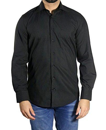 MUGA MMUGA Herrenhemd Extra Langarm Schwarz