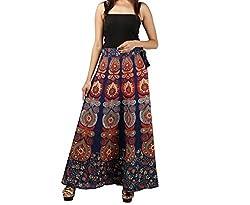 FEMEZONE Skirt Women's Cotton Regular Fit Wrap Skirt (BLUE)