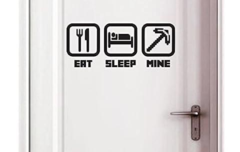 Eat - Sleep - Mine - Kids Bedroom Door Play Room Wall Vinyl Autocollant Sticker (250x100mm) by Inspired Walls®