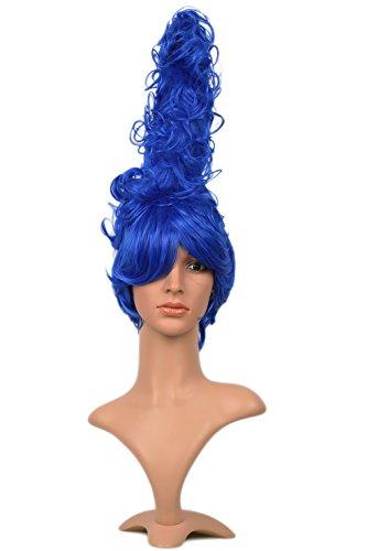 Marge Haar Kostüm (Halloween Cosplay Perücke Lockig Blue Beehive HaarStyle Headpiece Anime Karneval Haar Accessory für)