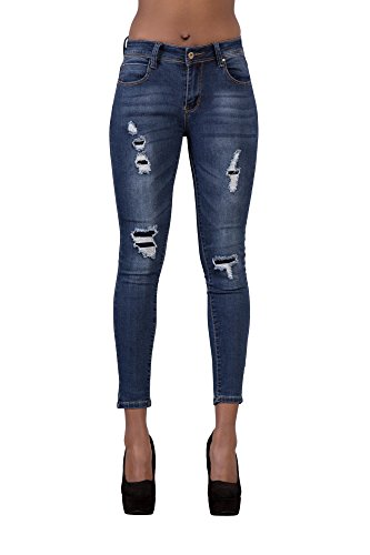 LustyChic - Jeans - Femme Fake Ripped Blue