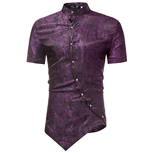 LANSKRLSP Uomini Casuale Pulsante Camicia Collare Mandarino Camicie da  Smoking da Uomo Shirt da Uomo Irregolare 7daec1a2f27