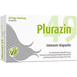 Plurazin 49 Intensiv Kapseln | Bei Haarausfall und Haarwachstumsstörungen in den Wechseljahren, Menopause | Haar Nährstoffe + Vitamine + Mineralien | Arginin, Cystein, Leinsamen-Extrakt & Koffein - 40 Stück