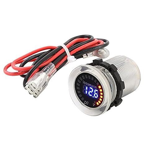 Voltmètre Capacitance Capacité de Tension Jauge de Indicateur de Batterie Affichage LED Compteur d'électricité avec Fil de Fusible pour Moto Electromobile Voiture RV