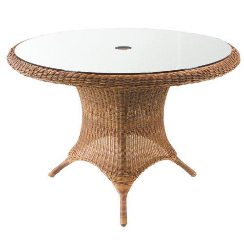 Cozy Bay 112cm Rattan Runder Tisch mit Glas–Java Honig (Tisch-basen Glas)
