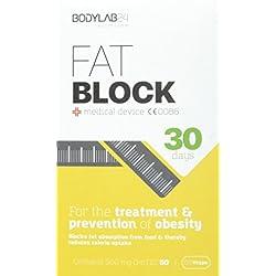 Bodylab24 Fat Block, Fettbinder zur Unterstützung einer Diät, blockiert die Fettaufnahme aus der Nahrung und vermindert die Kalorienaufnahme, 60 Kapseln