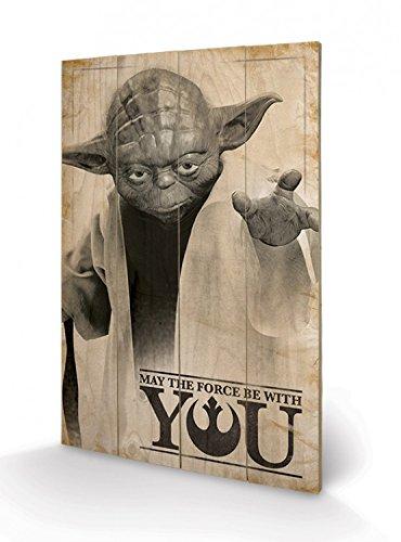 Preisvergleich Produktbild 1art1 100585 Star Wars - Yoda,  Möge Die Macht Mit Dir Sein Poster Auf Holz 60 x 40 cm