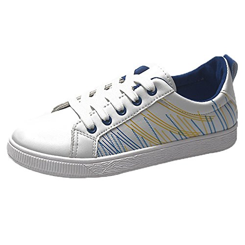 Sportive fitness running sneakers,yesmile pattini casuali dell'allievo scarpe donna piatta con lacci scarpe bianche scarpa singola