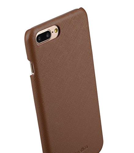 Apple Iphone 7 Melkco Elite-Serie Premium Leder-Snap zurück Tasche Tasche mit Premium-Leder Handgefertigte gute Schutz, Premium Feel-Tan Brown-Kreuz-Muster PU-1