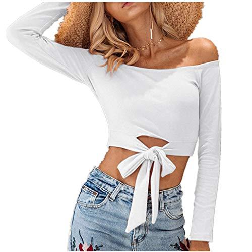 JiaMeng Damen Schulterfreies kurzes T-Shirt mit Schnürung Slash Neck Casual Bluse