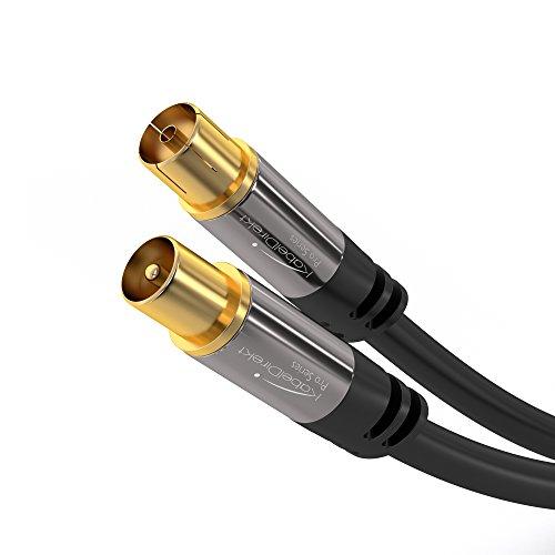KabelDirekt Antennenkabel Koax Stecker (2m 75 Ohm, Koax Kupplung Koaxialkabel geeignet für TV, HDTV, Radio, DVB-T, DVB-C, DVB-S, DVB-S2 - PRO Series)