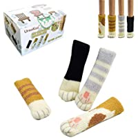16 Calcetines(4 juegos) de Sillas, Con Diseño Patas de Gato, Protectores Fiables para Pisos, Patas de Sillas, Sillones, Mesas - 4 Colores Diferentes. Pack de 16 Unidades