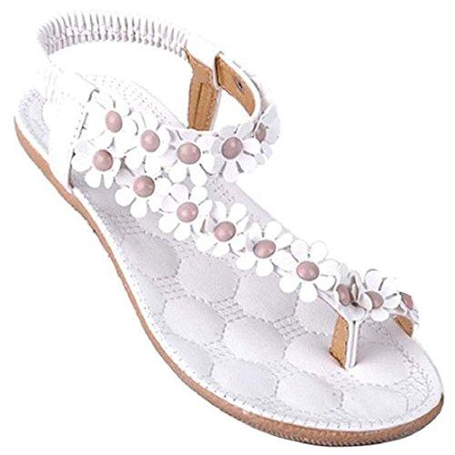 Calzado de mujer,Amlaiworld Zapatos de la playa de Bohemia dulce de abalorios sandalias del dedo del pie del clip (40, Blanco)