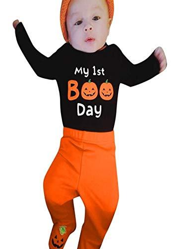 Writtian Neugeborenes Kleinkind Kinder Halloween Kostüm Kürbis Motiv Baby Overalls Mädchen Gedruckt Toddlern Halloween Langarm Gestreift Hosen Hut 3in4 Cosplay Nette Outfits (Billig Last Minute Kostüm)
