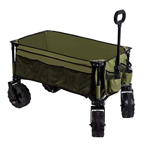 Timber Ridge folding camping wagon / wagen zusammenklappbarer robuster stahlrahmen garten / bollerwagen / wagen 35.5x18.4x39 zoll grün-seitentasche