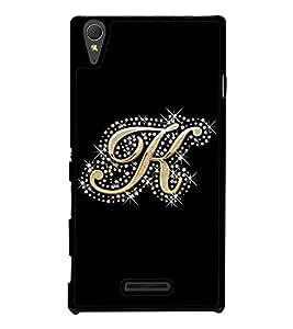 PrintVisa Bling Alphabet K High Glossy Designer Back Case Cover for Sony Xperia T3