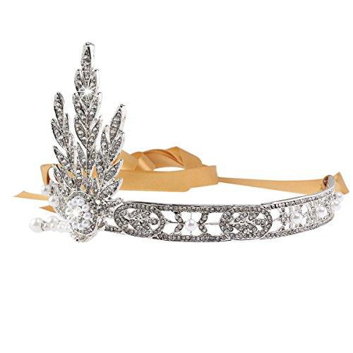 PIXNOR Boda nupcial Tiara hoja estilo Rhinestone perla banda diadema de pelo (plata)