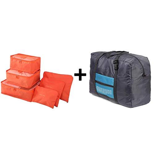 6 Stück/Set Packwürfel Organizer Plus Reisegepäck Handtaschen Nylon Faltbare Reisetaschen Unisex für Zuhause Organizer Urlaub Taschen, Orange (Orange) - TXtRhjAPhqEcmPf326S0 -