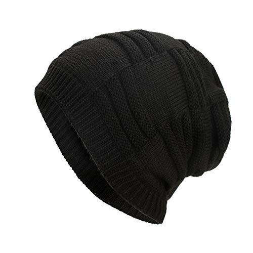 AIni Damen Herren warme Baggy Weave häkeln Winter Grobstrick Teddy Fleece Innenfutter Ski Beanie Skull Caps Hut (Schwarz)