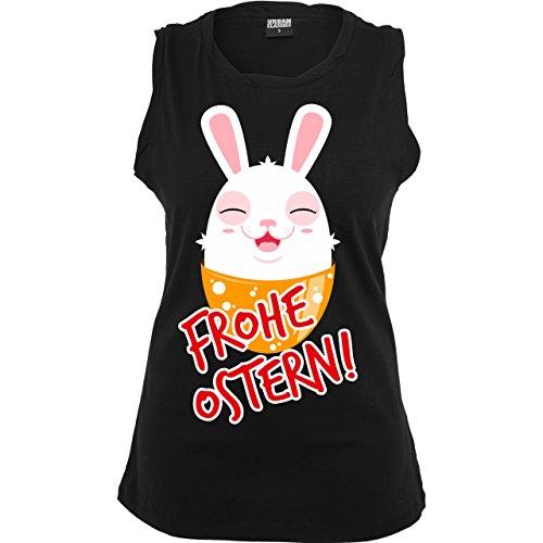 Ostern - Frohe Ostern - Osterhase - ärmelloses Damen T-Shirt mit Brusttasche Schwarz
