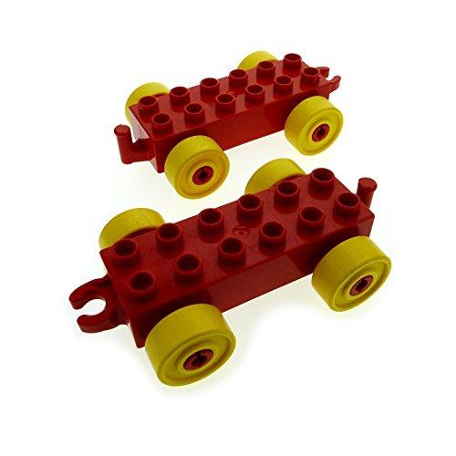 2 x Lego Duplo Anhänger rot Reifen gelb Auto Schiebe Zug Zahlenzug Zirkus Eisenbahn 10558 2652 2312