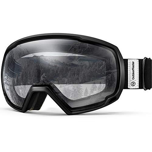 OutdoorMaster Premium Skibrille, Snowboardbrille Schneebrille OTG 100% UV-Schutz, helmkompatible Ski Goggles für Damen&Herren/Jungen&Mädchen(Schwarzer Rahmen + VLT 98.9% kalre Gläser) -