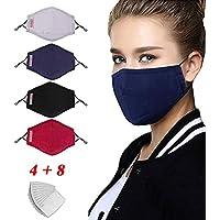 LILIfoodshop faciales Protectoras de algodón Reutilizables, Antipolvo Proteger la Salud de la Cara Reemplazo Lavable Adecuado para Todos los filtros de Carbono 4PC + 8PC Filtros