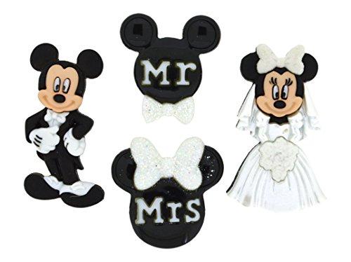 Jesse James Dress It Up Oficial Adornos Mickey y Minnie Boda, acrílico