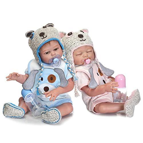 HOOMAI 22inch 55cm Reborn Babys Zwillinge lebensecht mädchen Junge mit silikon körper wasserdicht Doll Billig Puppe Toddler Magnetisches Spielzeug