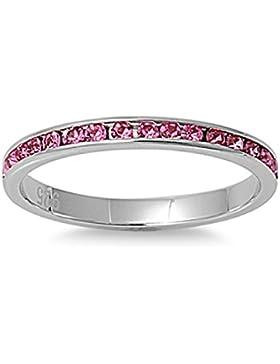 Sterlingsilber Ewigkeitsring 2 mm - Rose Pink
