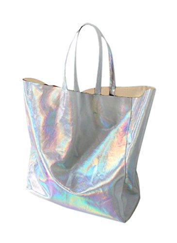 Choies Damen Handtasche Hologramm PU Shopper Taschen Casual Laser Henkeltasche Schultertasche Silber - Casual Damen Tasche