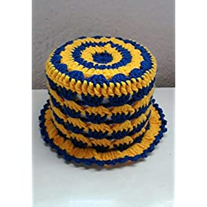 (42) Klopapierhut Klohut Toilet paper hat in Blau und Gelb gehäkelt Auto Fußball Kult Geschenk Sport Scherzartikel
