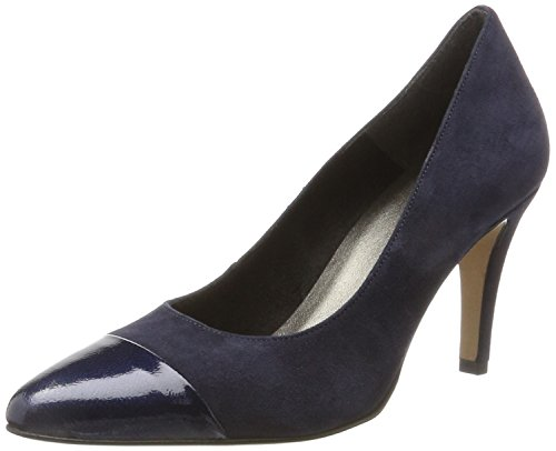 Tamaris Damen 22442 Pumps, Blau (Navy/Patent), 38 EU (Leder Blau Patent Schuhe)