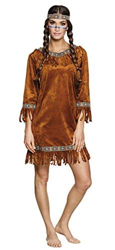 Karnevalsbud - Indianer Kleid Kostüm samtartiges Kleid mit Haarband Fransen, M, ()