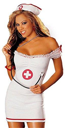 Wunhope Damen Lingerie Sexy Weiss Erotik Krankenschwester Cosplay Party (Neckholder Sexy Kleid Kostüme Krankenschwester)