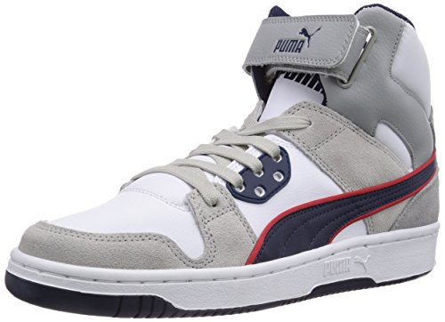 Puma Puma Rebound Street Leather, Unisex-Erwachsene Basketballschuhe, Grau (gray violet-peacoat-high risk red 05), 19