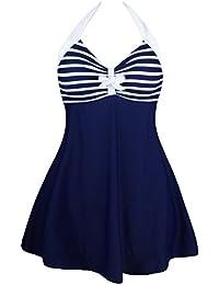 Lukis Damen Badeanzug mit Röckchen Badekleid Blau und Weiß Brust 70-78cm