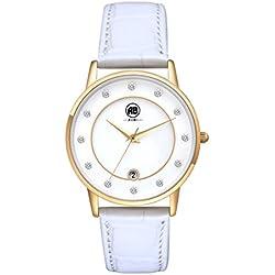AIBI Damenuhr 34mm elegantes Kleid Leder Gold / Weiß AB51601-2