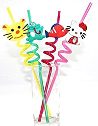Amazing Set of 4 Fun Curly PVC Drinking Reusable Straws – For Birthday, Party (Animal Design)